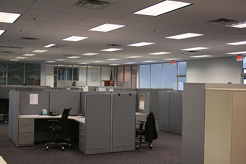 Image of PHA Body Systems' commercial interior renovation. Here we see employee work stations.